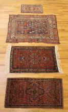 Three Antique Oriental Throw Rugs