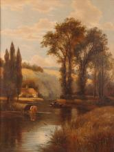 Pair Charles Vickers Rural Scene Oil Paintings