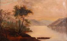 Hudson River School Landscape Riverbank at Dawn