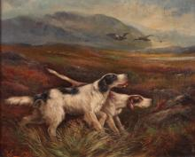 R. C. Morris painting Pointer Dogs hunting Birds