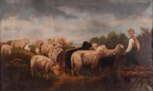 English Sheep and Shepherd Primitive Painting