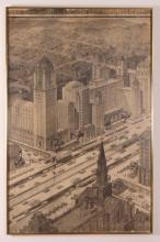 3 Framed Pittsburgh Urban Planning Ink Wash Drawings