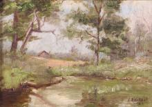 Lila Hetzel Impressionist Painting of Country Pond 1926