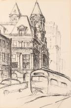 Julius Kahn Old Pittsburgh Post Office Drawing