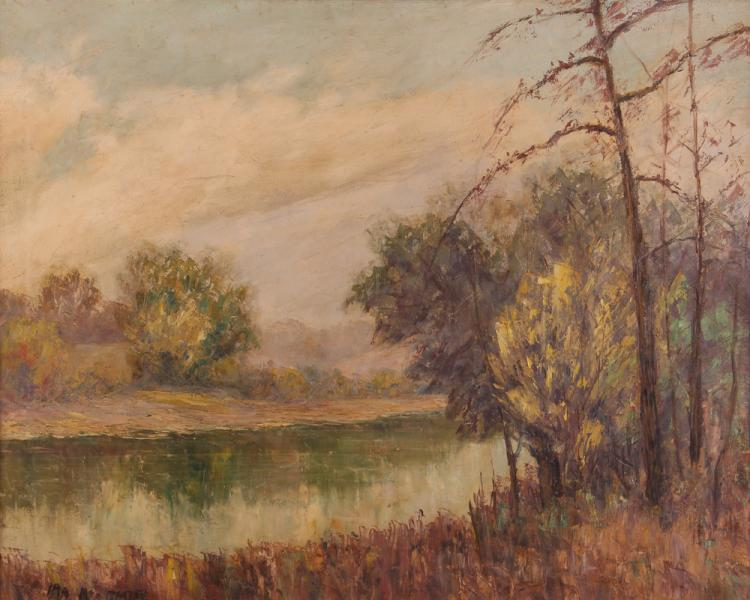 Ira McDade Impressionist Landscape with Pond Painting