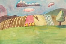 Esther Phillips Watercolor Farmstead & Thunder Cloud