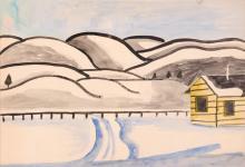 Esther Phillips Watercolor Snowy Mountain Landscape