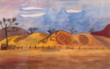 Esther Phillips Watercolor Plateau Farmstead at Twilight