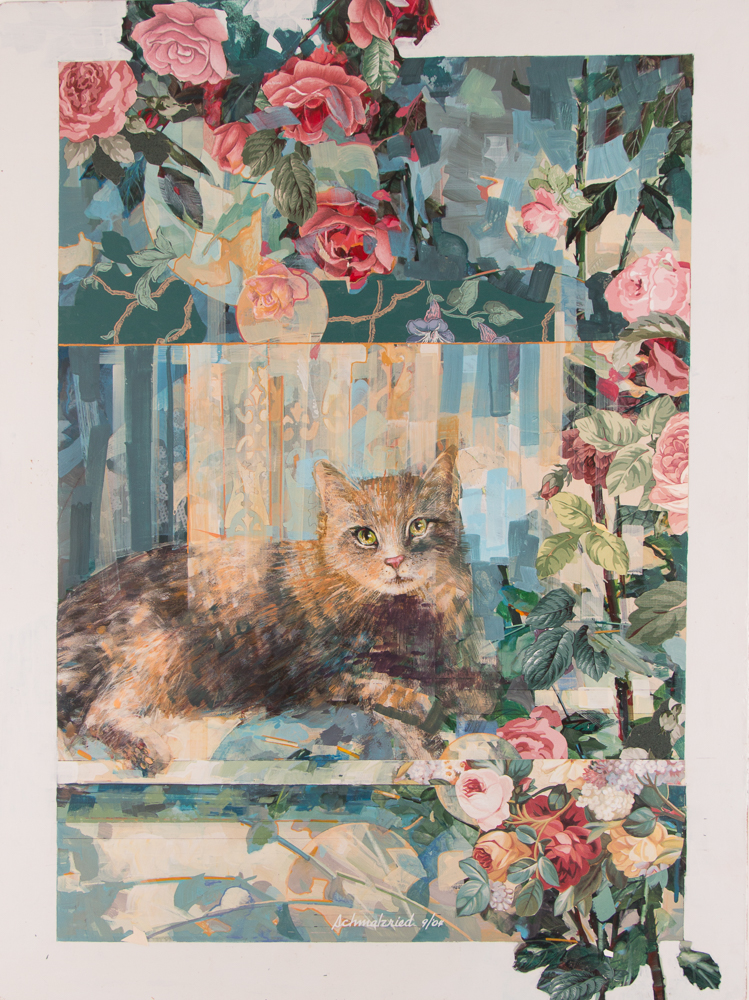 Robert Schmalzried painting and collage Frankie