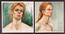 3 Louis Witkin 2 oil portrait studies Nude Pastel