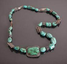 Mexican or Indian Turquoise Silver Necklace