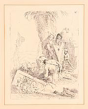 Giovanni Tiepolo etching  Shepherd with Two Magicians, from the Scherzi