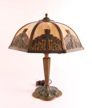 Tulip Themed Slag Glass Lamp