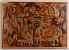Sadegh Tabrizi Untitled Riders 1974 Mixed Media Painting