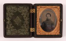 Small Civil War Soldier Ambrotype with Gutta-Percha Case