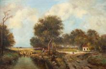Nicholas Briganti oil painting Sheep and Wheat Field
