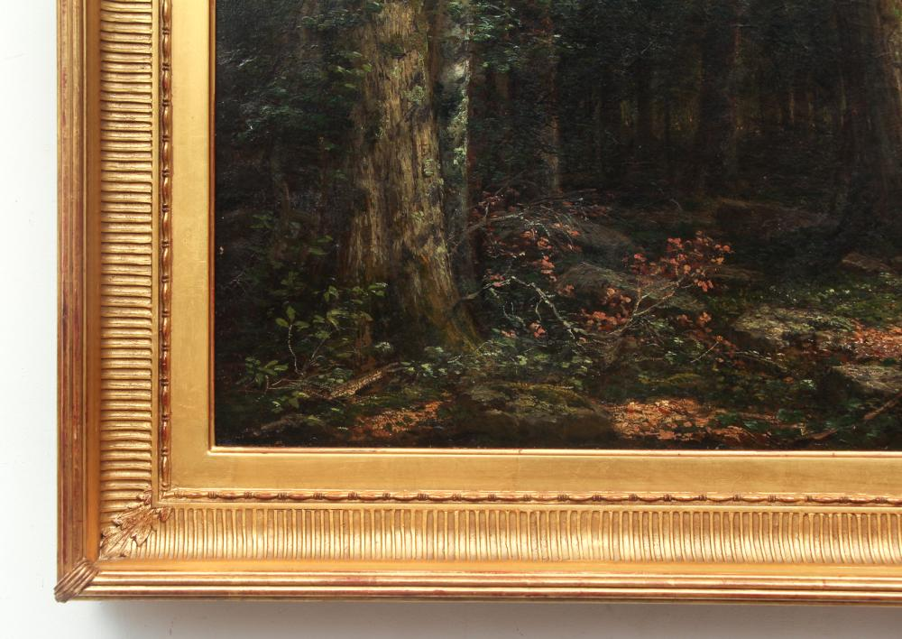 George Hetzel Painting Hunter Standing In A Forest Clearing