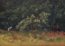 Impressionist Poppy Field in Chaville by Henri Linguet