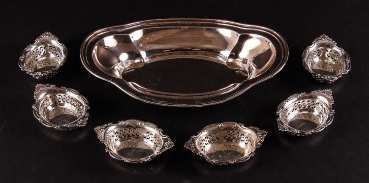 Sterling Silver Dominick & Haff Tray w 6 Gorham Cellars