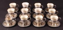 12 Sterling Silver Demi Tasse Cups w Saucers