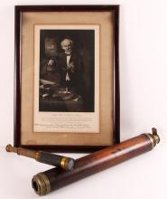 2 19th cen Spyglasses & pic of Astronomer John Brashear