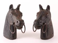2 19th Century CAST IRON HORSEHEAD HITCHING POST CAPITALS