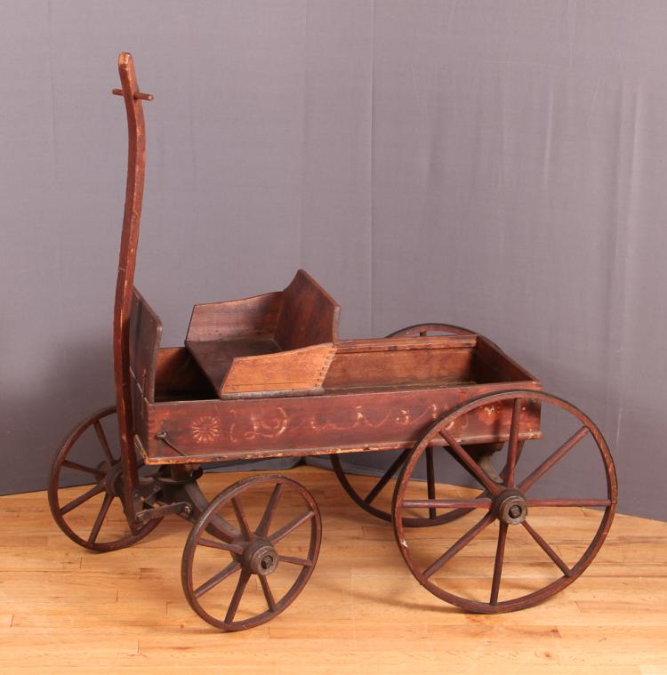 Antique American Child's Large Wheel Wooden Wagon