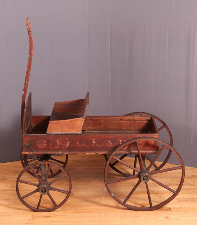 Antique American Childs Large Wheel Wooden Wagon