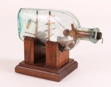 Wonderful American 19th Century Folksy Sailor Whimsy in a Bottle