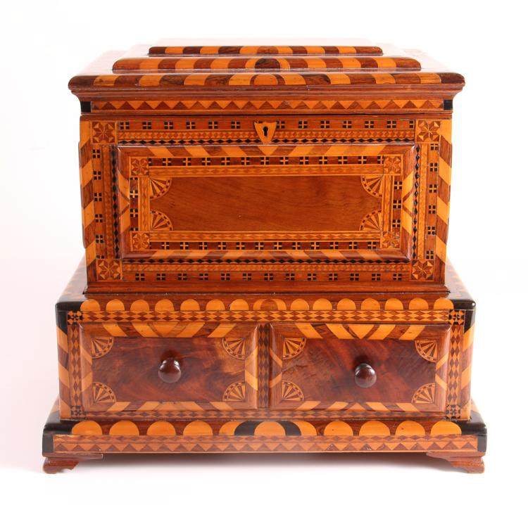 New England FOLK ART JEWELRY BOX with interior Mirror