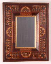 Folk Art elaborate inlay frame and mirror
