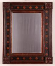 Inlaid carved block corner Folk Frame with another wood frame , inlaid frame 17 x 14.75 inches, all wood 10 x 8.5 inches
