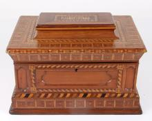 FOLK ART Marquetry JEWELRY BOX, Maggie