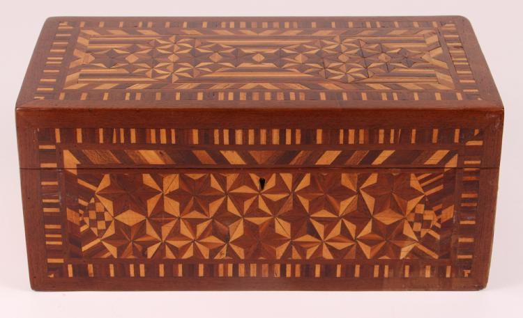 FOLK ART Jewelry BOX with Blue Velvet Lining