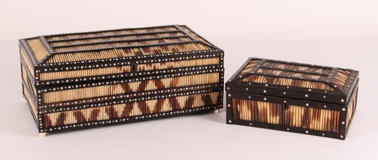 19TH CENTURY SRI LANKAN PORCUPINE QUILL BOX with smaller quill box