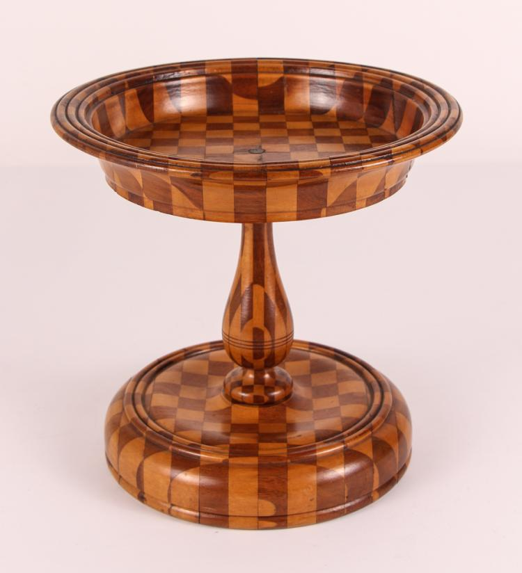 FOLK ART Wood Marquetry FOOTED COMPOTE