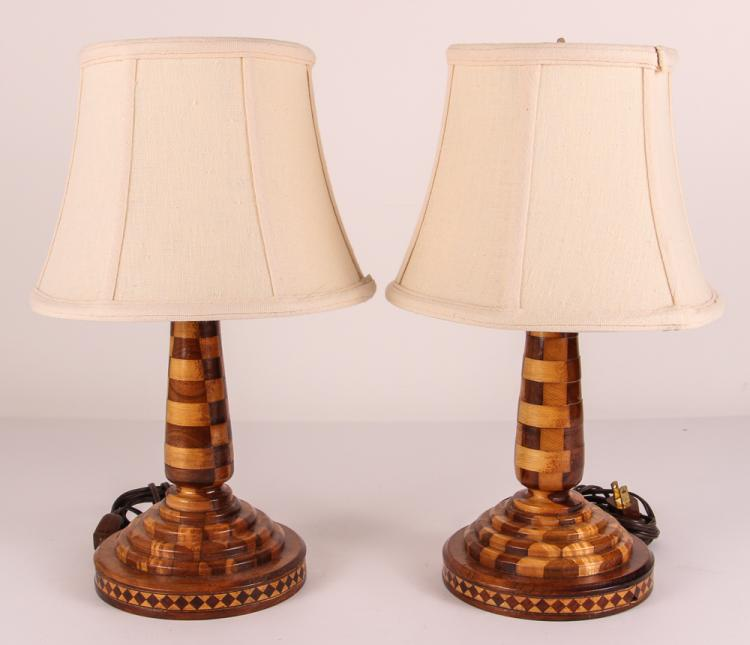Pair of Folk Art Wood Marquetry Lamps
