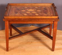 Folk/Tramp Art marquetry tea butlers Table