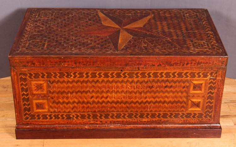 Antique Folk Art Marquetry Trunk