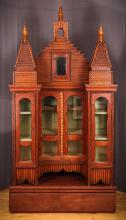 Fabulous Tramp Art Freestanding Curio Cabinet