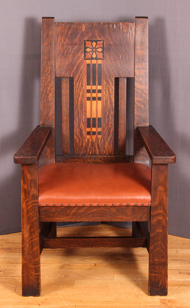 Shop of the Crafters inlaid Oak Arm Chair, Shop of the Crafters