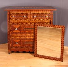 Sensational Folk Art Marquetry Chest of Drawers