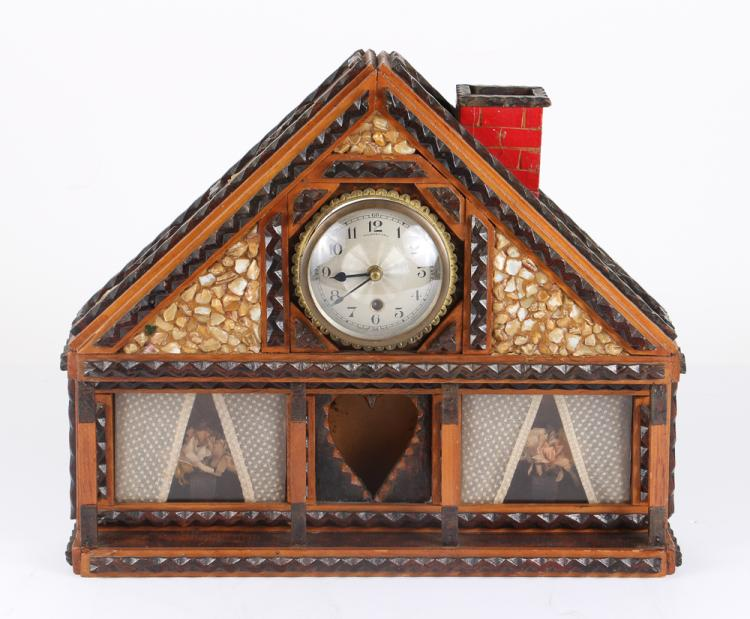 Tramp Art Clock in the form of a house
