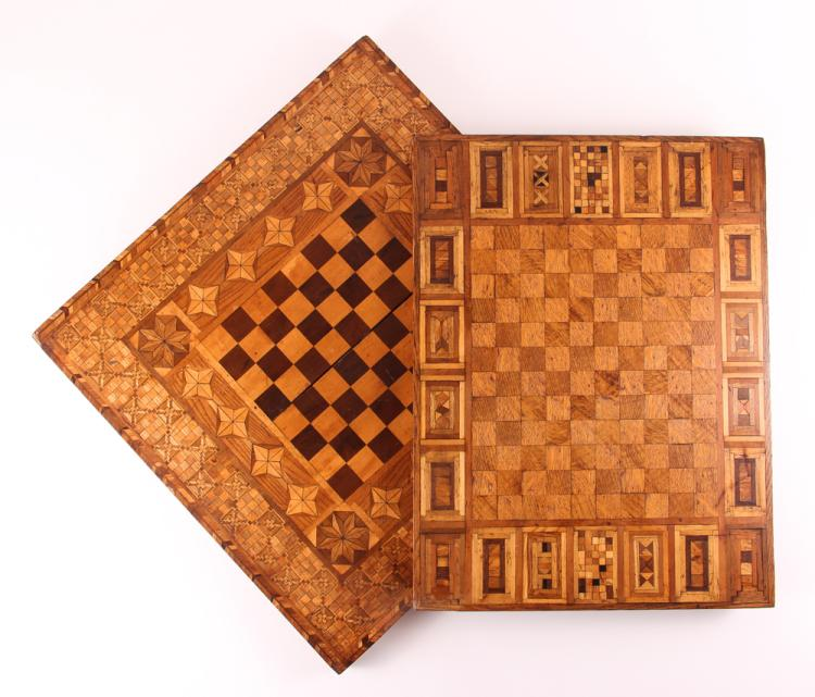 Two Victorian Marquetry Game Boards