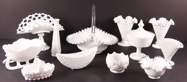 12 Assorted Decorative Household Milk Glass
