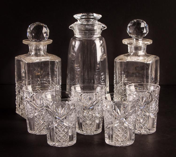 Steuben & Cut Glass Decanters & 5 Tumblers