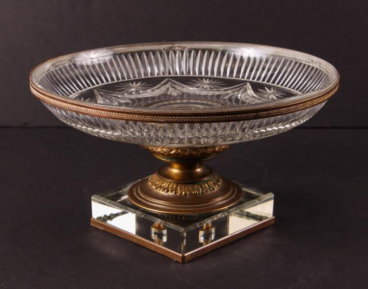 French Cut Glass and Bronze Mounted Two Piece Tazza