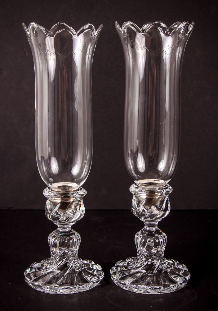 Pair of Baccarat Crystal Tall Hurricane Lamps