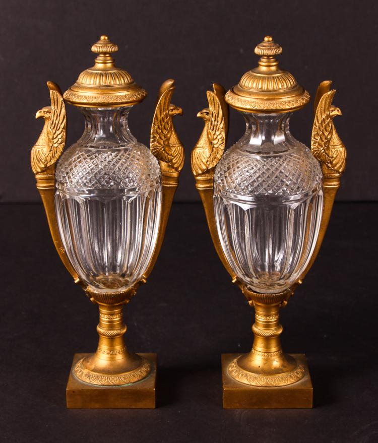 Fine Pair of French Empire Bronze & Cut Glass Covered Vases