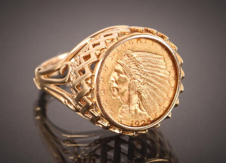 2.5 Dollar Indian Head Gold Coin Ring